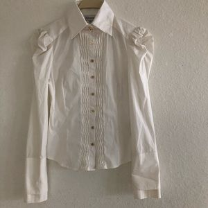 Bebe White Long Sleeve Top Size M